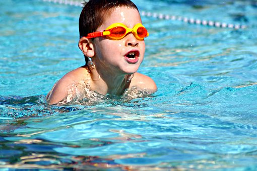 Boys, Swimming, Pools, Blue, Clear, Transparent, Water