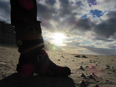 Effect, Light, Sun, Boot, Beach, Belgium, Evening, Sand