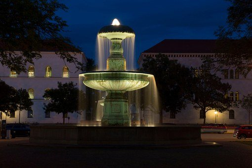 Fountain, Munich, City, Germany, Building, Old, Vision
