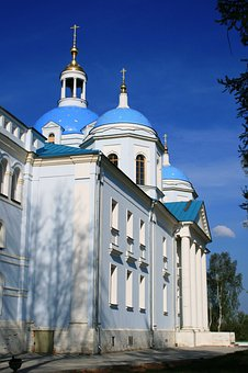Cathedral, Tall, Church, Building, White, Blue, Domes