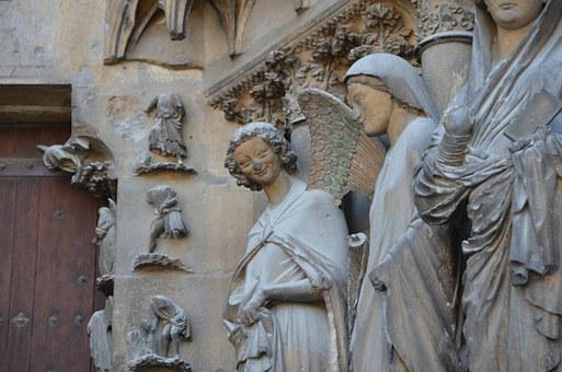 Angels, Cathedral, Reims, Divine Smile, France, History