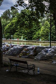 Sandbag, Dam, Water, Flood, Part, River, Danube, Nature