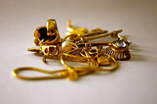 Gold, Jewellery, Chain, Earring, Cute, Old, Antique