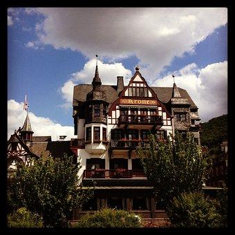 Assmanshausen, Hotel, Crown, Old, Historically, Rhine