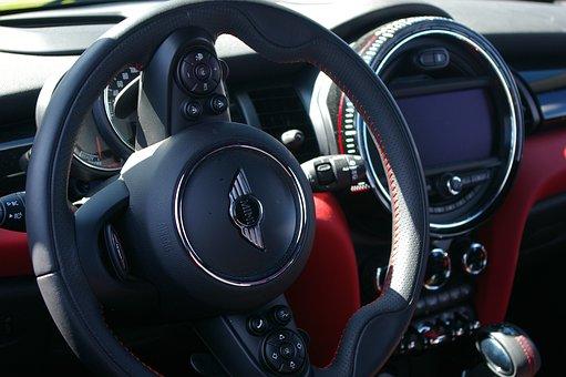 Minicooper, Steering Wheel, Car, Interior Design
