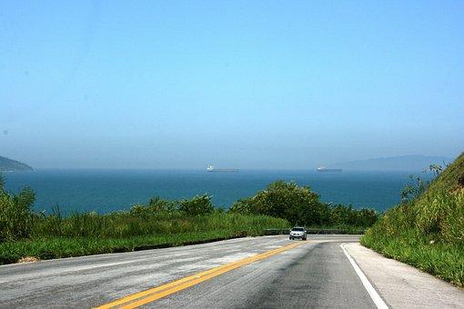 Road, Road Trip, Mar, Sky, Blue Sky, Angra, Rio Santos