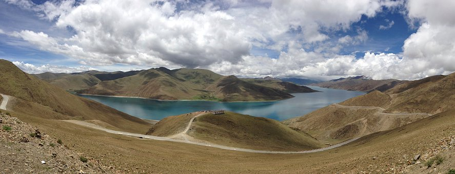 Landscape, Panorama, Lake, Mountains, Barren, Scenery