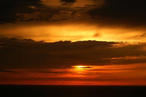 Sunset, Ocean, Twilight, Clouds, Red Orange Sky