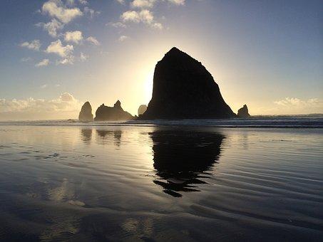 Oregon, Haystack, Ocean, Beach, Cannon Beach, Shore