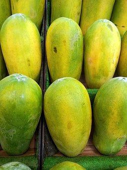 Papayas, Pile, Singapore, Green Papaya, Fruit, Juicy