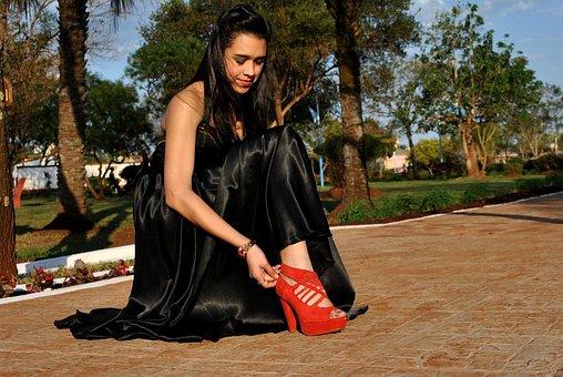 Shoe, Red Shoe, Black Dress, Footwear, Feet, Shoes