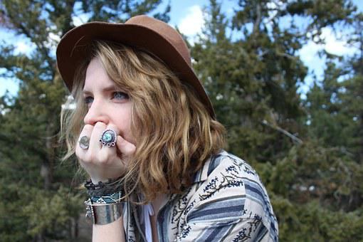 Thinking, Hipster, Trees, Hat, Rings, Female, Mountain