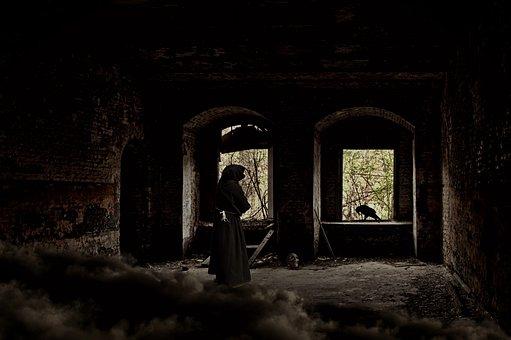 Ruin, Castle, Ghost, Weird, Creepy, Spirit, Monk