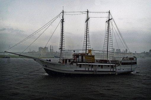 Sail Boat, Ship, Storm, Rain, Rain Drops, Old, Vessel