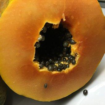 Sliced, Papaya, Seeds, Tropical, Fruit, Fresh, Food