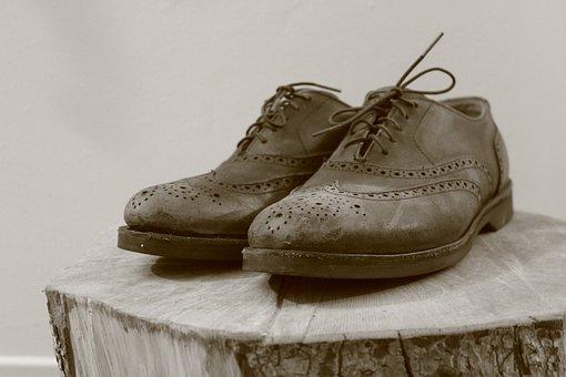 Wingtip, Wood Stump, Black White, Shoes, Footwear, Feet