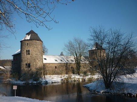 Winter, Snow, Wasserburg, Ratingen