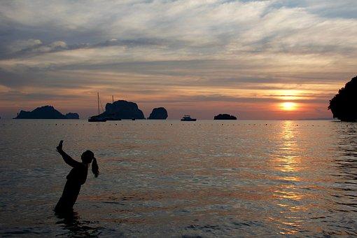 Selfie, Water, Sunset, Evening Sun, Mood, Sky, Romantic