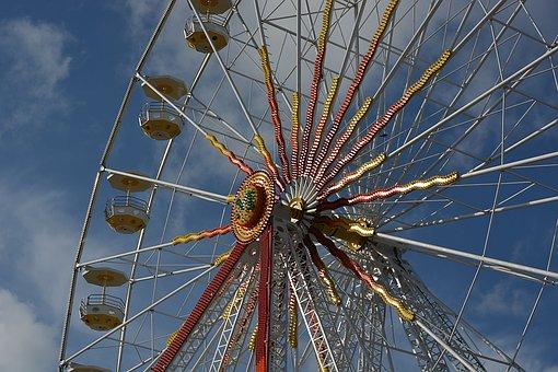 Manege, Wheel, Fair, Fairground, City, Attractive, Sky