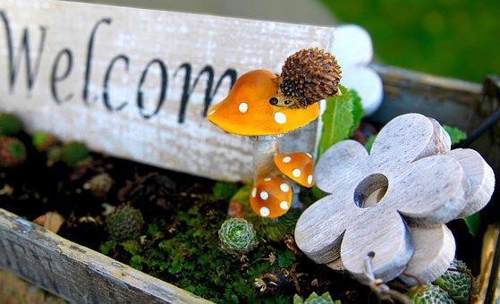 Welcome, Hedgehog, Animal, Wooden Sign, Garden