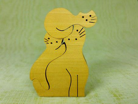 Wood, Puzzle, Wooden Toys, Cat