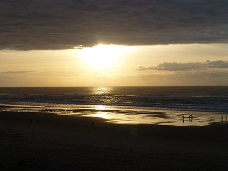 Sunset, Beach, Sea, People, Lincoln City Oregon
