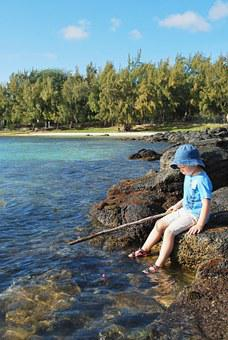 Fishing, Sky, Child, Toddler, Stick, Water, Ocean, Sea