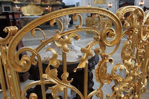 Railing, Grid, Gold, Church, Golden, Gilded, Hamburg