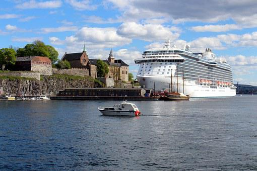 Oslo, Norway, Port, Oslofjord, City, Ship, Clouds