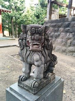 Guardian Dogs, Guardian Lion-dog At Shinto Shrine