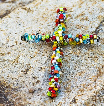 Cross, Beaded, Beads, Rock, Colorful, Rainbow, Object