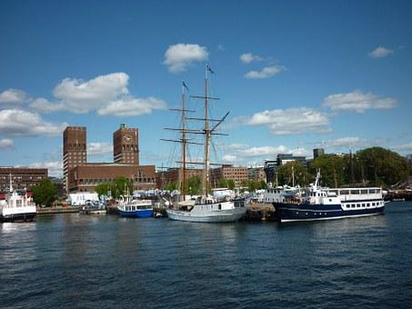 Oslo, Town Hall, Oslofjord, Norway, Port, Travel, City