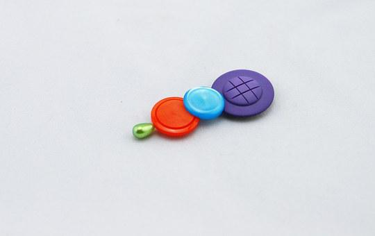 Buttons, Colorful, Buttons On A Hat Pin, Purple Button