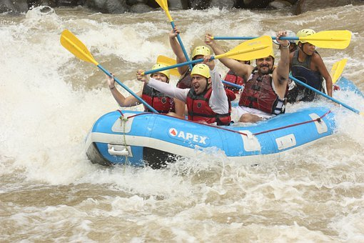 Rafting, River, Happy, Adventure, Water, Boat, Helmet