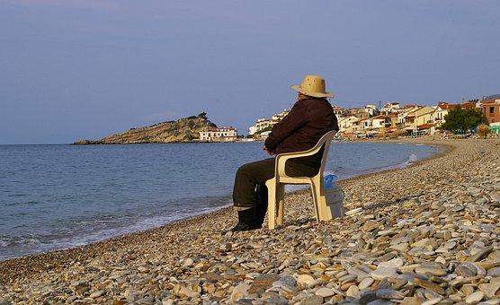 Greece, Samos, Water, Sea, Beach, Sky, Relax, Fishing