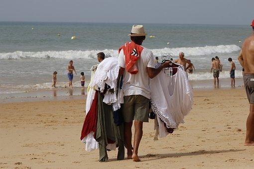 Seller, Beach, On Wheels, Work, People Working
