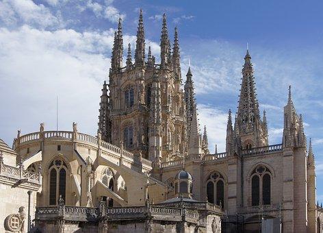 Burgos, Spain, Sky, Clouds, Building, Structure
