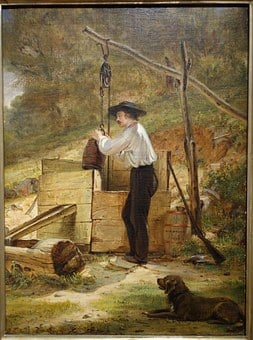 At The Well, William Sidney Mount, Oil, Board, Mounted