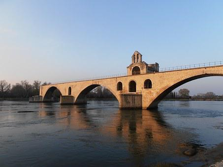 Bridge, Avignon, Pont, Sunset, River, France