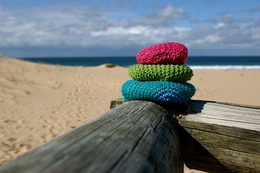 Beach, Yarn Bomb, Colorful, Pink, Green, Blue