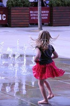 Little Girl, Dance, Water Jets, Basin, Fountain