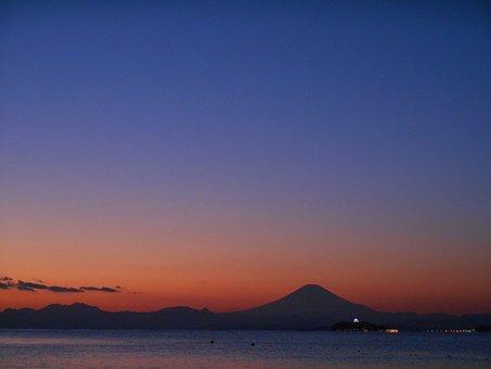 Mt Fuji, Twilight, Sea, Enoshima, Evening, Landscape