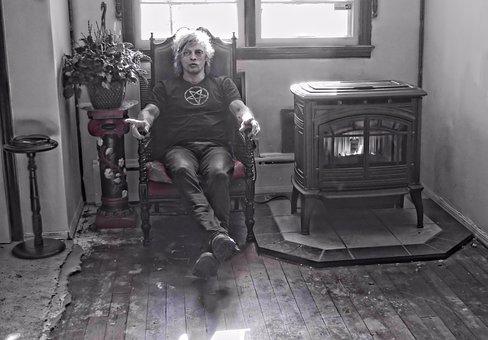 Man, Gothic, Sitting, Fireplace, Pentagram, Halloween
