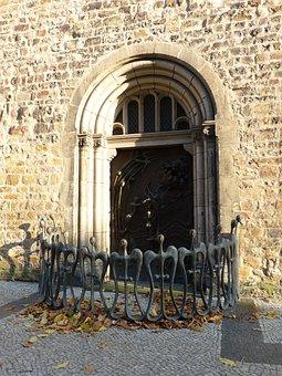 Church, St Sebastian, Door, Portal, Input, Romanesque