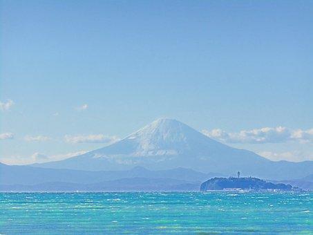 Mt Fuji, Sea, Blue Sky, Enoshima, Japan, Landscape