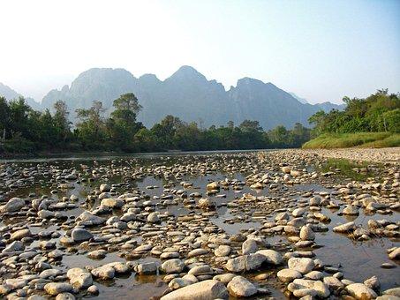 Laos, Vang Vieng, River, Xong, Water, Stones, Mountains