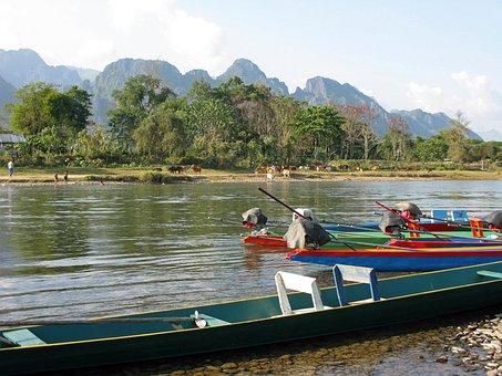 Laos, Vang Vieng, River, Xong, Mountains, Water, Nature