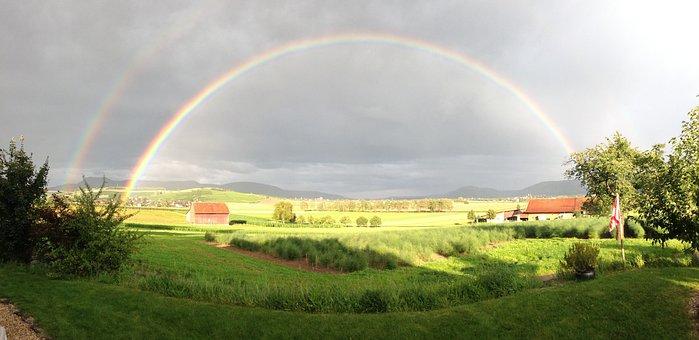 Hallau, Oberhallau, Rainbow, Sun, Rain, Refraction