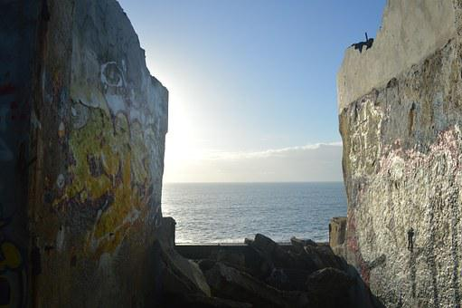 Wall, Ocean, Horizon, Bunker, Sea, Sky, Water