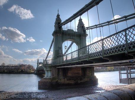 London, Hammersmith, Bridge, Cloud, Landmarks, River